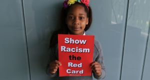 Naomi Nene, a pupil at CBS Dundalk, who participated in the annual Show Racism the Red Card event. Photograph: Nick Bradshaw