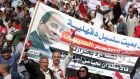 Supporters of Egyptian president Abdel Fattah el-Sisi at a rally in Cairo on Friday. Photograph: Khaled Elfiqi
