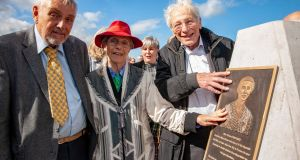 Mary Elmes's son Patrick Danjou with Charlotte Berger-Greneche and Georges Koltein, who, as children, were rescued from deportation to Auschwitz, at the unveiling of a plazue in memory of Mary Elmes. Photograph: Brian Lougheed