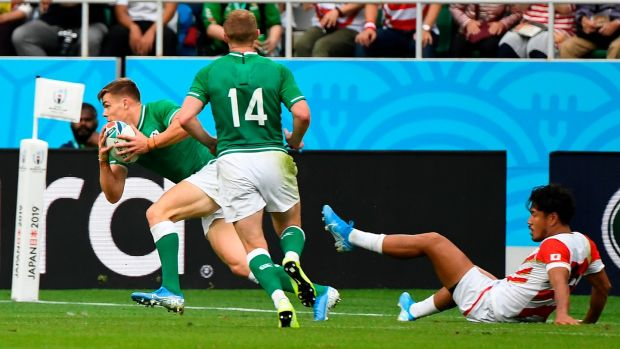Garry Ringrose scores Ireland's first try. Photo: William West/Getty Images