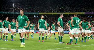 Ireland's Conor Murray stands dejected after the Rugby World Cup Pool A loss to Japan. Photo: Dan Sheridan/Inpho