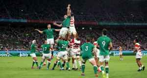 James Ryan of Ireland and Luke Thompson of Japan compete for a lineout during the Rugby World Cup 2019 Pool A match. Photo: Cameron Spencer/Getty Images