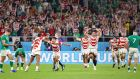 Japan celebrate after their famous win over Ireland in Shizuoka. Photograph: Jiji Press/EPA