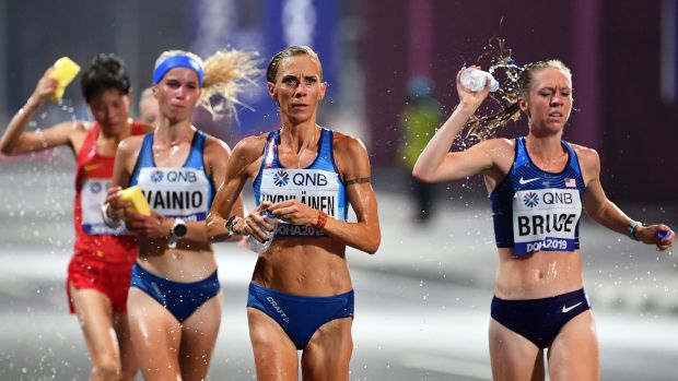 Anne-Marie Hyrylainen of Finland in action during the women's marathon. Photograph: Photograph: Noushad Thekkayil/EPA