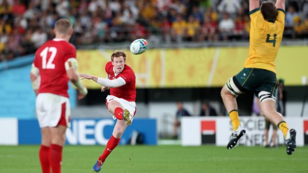 Rhys Patchell kicks a penalty for Wales against Australia. Photograph: Shaun Botterill/Getty