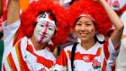 Japanese rugby fans  at the Ecopa Stadium in Fukuroi on Saturday. Photograph: William West/AFP/Getty Images