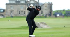 Shane Lowry tees off on the 18th hole. Photo: Matthew Lewis/Getty Images