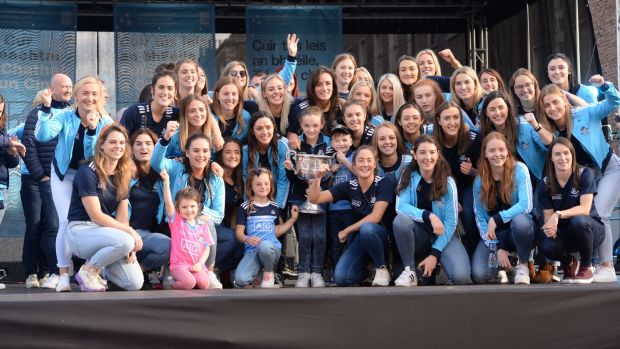 The Dublin women's team celebrating their three-in-a-row with fans at Merrion Square. Photograph: Dara Mac Dónaill/The Irish Times