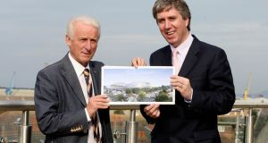 Former Republic of Ireland manager Giovanni Trapattoni and John Delaney at the launch of the  Vantage Club ticket scheme in September 2008. Photograph: Donall Farmer/Inpho