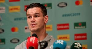 Johnny Sexton talks at an Ireland press conference in Kobe. Photograph: Inpho