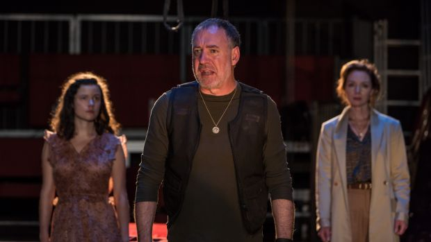 Hecuba: Zara Devlin, Brian Doherty and Aislín McGuckin in the Rough Magic production. Photograph: Ste Murray