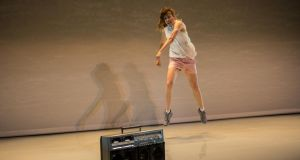Piece for Person and Ghetto Blaster: Nicola Gunn's performance evokes a fractured society. Photograph: Maria Baranova