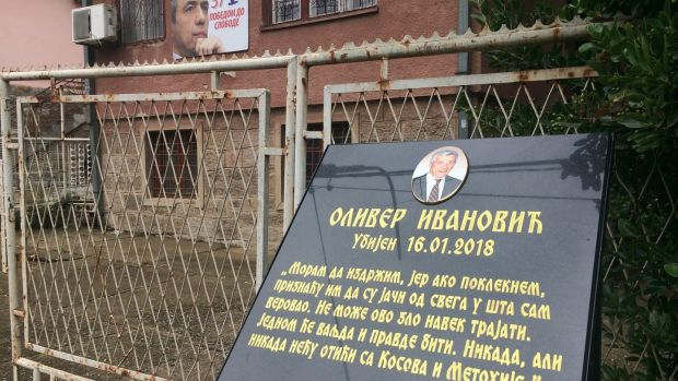 A memorial to Kosovo Serb politician Oliver Ivanovic where he was shot dead outside his office in Mitrovica in January 2018. Photograph: Dan McLaughlin