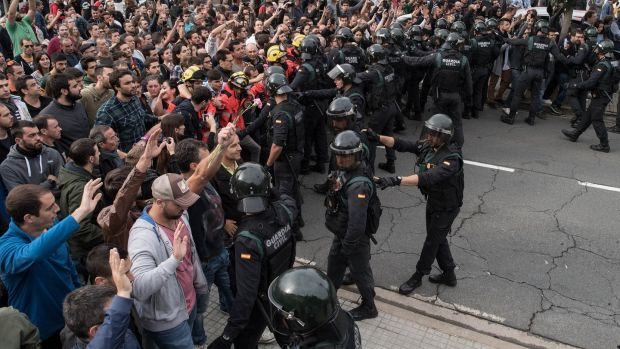 Clashes in Sant Julia de Ramis on October 1st, 2017, when Madrid declared the independence vote illegal and undemocratic. Photograph: David Ramos