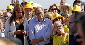 Catalan regional president Quim Torra  attends a rally organised by the pro-independence party JxCat outside the Lledoners prison in Barcelona. Photograph:  Susanna Saez