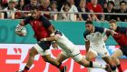 Billy Vunipola on the charge during England's win over USA in Kobe last week. Photograph: David Rogers/Getty Images.
