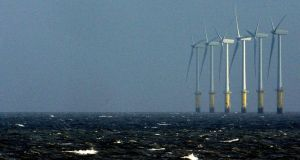 Wind turbines in the Irish Sea. Photograph: Phil Noble/Reuters