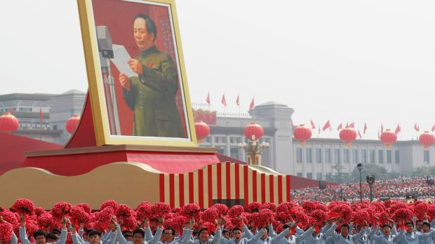 A float carrying a portrait of late Chinese leader and founder of the People's Republic of China, chairman Mao Zedong, moves past Tiananmen Square during the military parade marking the 70th anniversary of the founding of the People's Republic of China. Photograph: Wu Hong/EPA