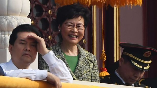 Hong Kong chief xxecutive Carrie Lam attends the military parade in Tiananmen Square in Beijing on Tuesday to mark the 70th anniversary of the founding of the People's Republic of China. Photograph: Greg Baker/AFP/Getty Images