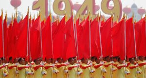 Performers parade past Tiananmen Square during a military parade marking the 70th anniversary of the founding of the People's Republic of China. Photograph: EPA/Wu Hong