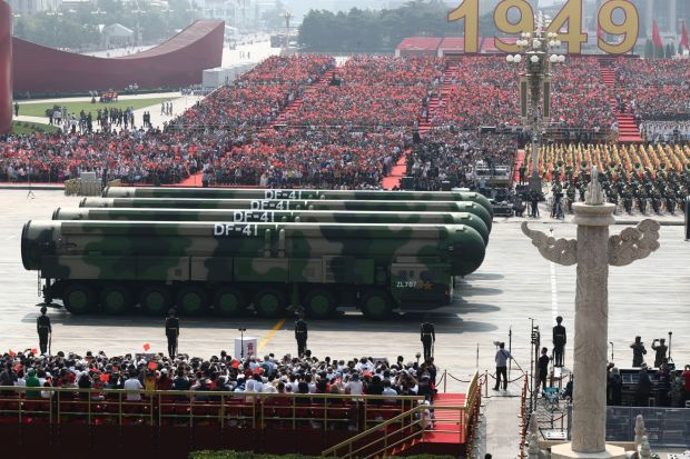 A general view of intercontinental ballistic missiles rolling through Tiananmen Square during the parade marking the 70th anniversary. Photograph: EPA/How hwee Young