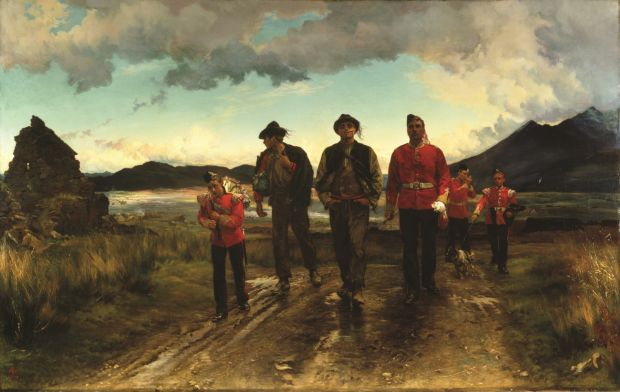 Elizabeth Thompson Butler's Listed for the Connaught Rangers: Recruiting in Ireland, 1878. Oil on Canvas: the two recruits are heading into the wars of the British empire Photograph: Bury Art Gallery and Museum / Bridgeman Art Library