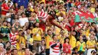 Wales and Australia fans show their support at Tokyo Stadium. Photograph: Mark Kolbe/Getty Images