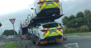Border Communities Against Brexit posted two photographs online of seven brand new customs patrol cars arriving at a Revenue Commissioners yard in the Border town on Tuesday.