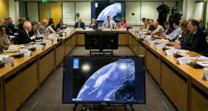A meeting of the National Emergency Co-ordination Group on Hurricane Lorenzo  took place on Tuesday in Agriculture House, Dublin. Photograph: Gareth Chaney/Collins