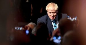 British prime minister Boris Johnson arrives to deliver his keynote speech to delegates on the final day of the annual Conservative Party conference at the Manchester Central convention complex. Photograph: Paul Ellis/AFP via Getty Images.