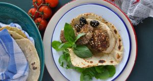Lamb meatballs with feta and flatbread