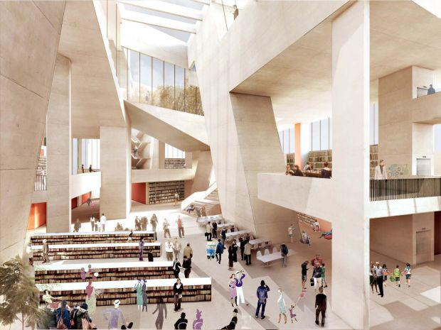 An illustration of the interior of Grafton Architects' proposed Dublin library. Illustration: Grafton Architects