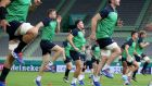WARMING UP: Jack Carty (centre left) and Peter O'Mahony (right) train during the Ireland rugby team's Captain's Run at Kobe Misaki Stadium, Kobe, Japan, ahead of their Rugby World Cup game with Russia  on Thursday. Photograph: Dan Sheridan/Inpho