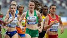 Ireland's Ciara Mageean on her way to finishing fifth to qualify for the semi-final in the 1,500M at Doha. Photograph: Morgan Treacy/inpho