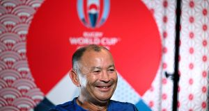 England's head coach Eddie Jones answers questions from the media in Tokyo this morning. Photograph: Getty Images