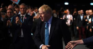 Britain's prime minister Boris Johnson attends the final day of the annual Conservative Party conference. Photograph: Oli Scarff / AFP