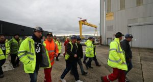 Workers return to the Harland and Wolff shipyard after a buyer was found to save the Belfast shipmakers. Photograph: Niall Carson/PA Wire