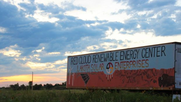 The Red Cloud Renewable Energy Centre in Pine Ridge: trains Native Americans from across the US in solar and other renewable technologies. Photograph: Stephen Starr