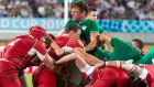 Jordi Murphy gets crushed in a scrum in the  Rugby World Cup Pool A  game between Ireland and Russia in Kobe Misaki Stadium on Thursday. Photoraph: Jayne Russell