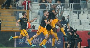 Wolverhampton Wanderers' Willy Boly celebrates after scoring the winner against Besiktas in the Europa League. Photo: AP