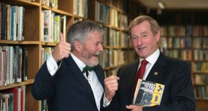 Enda O'Coineen and former taoiseach Enda Kenny at the launch of Mr O'Coineen's book Journey to the Edge. Photograph: Dave Meehan