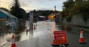 Parts of Donegal town are underwater this morning as the storm dumped up to 50mm of rainfall on the region. Photograph: Donegal Daily.