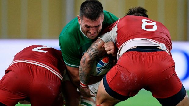 Ireland's Jean Kleyn is tackled during the win over Russia. Photograph: Getty Images