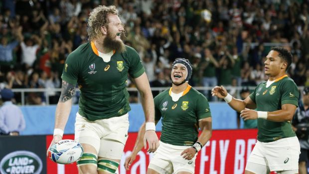 RG Snyman of South Africa (L) celebrates scoring his try with Cheslin Kolbe (C) Herschel Jantjies. Photograph: Mark R Cristino/EPA