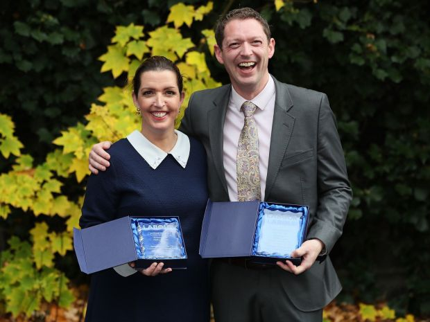 Vicky Phelan, the cancer patient whose case triggered the cervical smear test controversy, and Stephen Teap with their Jo Cox Award last November. Photograph: Brian Lawless/PA Wire