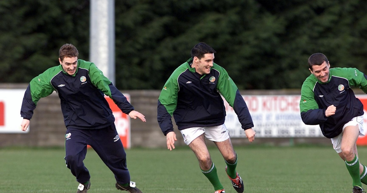 Colin Healy, Richie Sadlier and Roy Keane at Ireland training in 2002. Photo: Tom Honan