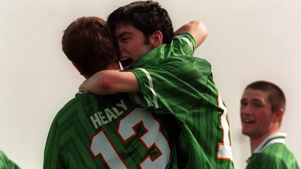 Sadlier is congratulated by Colin Healy after scoring for Ireland during the under-20 World Cup in 1999. Photo: Lorraine O'Sullivan/Inpho