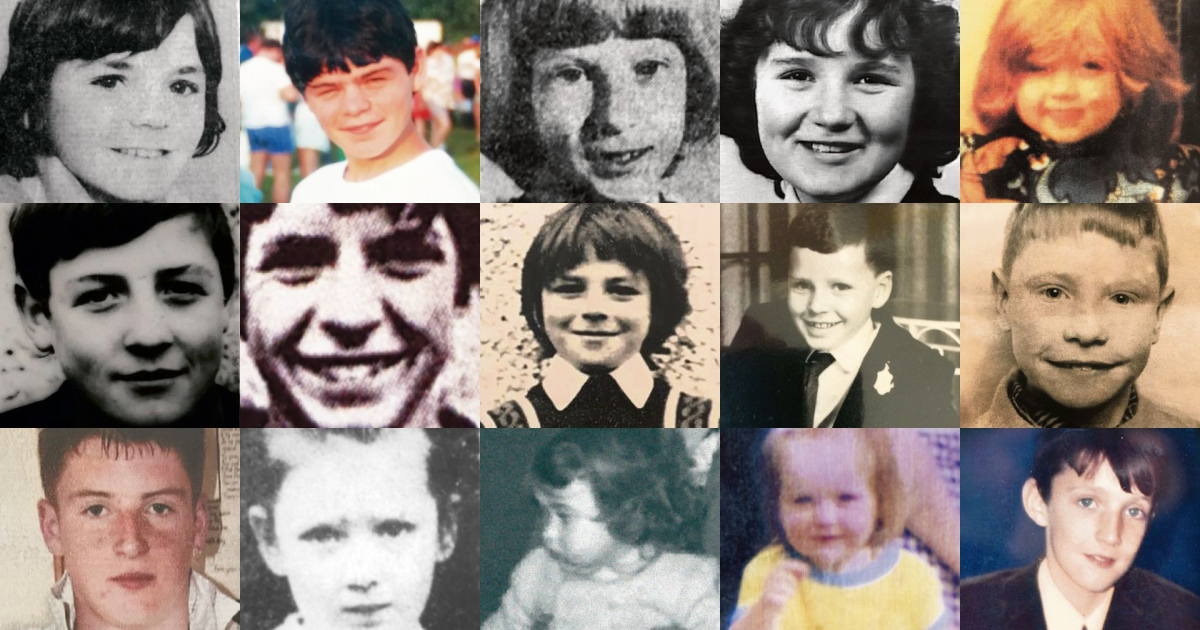 Children of the Troubles: Desmond Guiney, Charles Love, Lesley Gordon, Julie Livingstone and Siobhan McCabe (top row); John Dougal, Dessie Healey, Brian Stewart, Peter Watterson and Patrick Rooney (middle row); and Michael McIlveen, Paula Strong, Clare Hughes, Angela Gallagher and Philip Rafferty (bottom row)