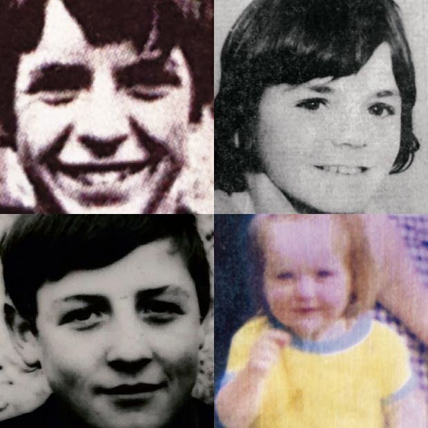 Children of the Troubles (clockwise from top left): Dessie Healey, Desmond Guiney, Angela Gallagher and John Dougal