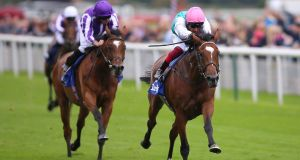 Enable  ridden by Frankie Dettori wins The Darley Yorkshire Stakes during  the Yorkshire Ebor Festival. Photograph:   Nigel French/PA